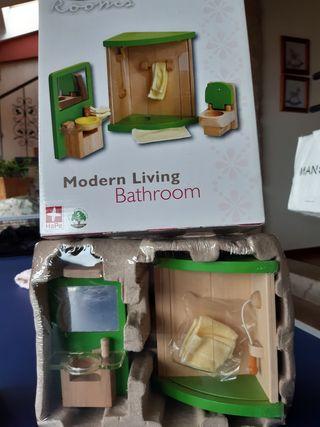 Muebles casa de muñecas: cocina moderna y baño