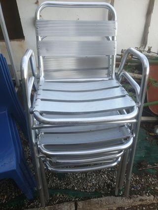 4 sillas de aluminios
