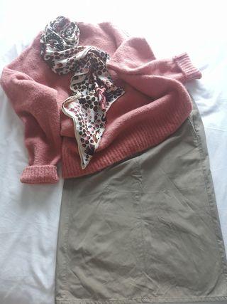 falda midi Trucco color caqui