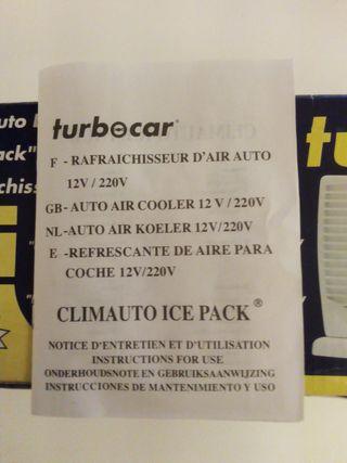 Ventilador a 12v y 220v con sistema ice pack