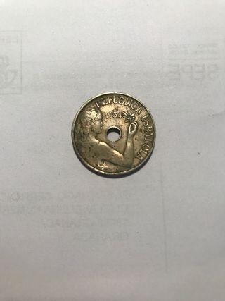 Moneda 25 Centimos 1934 española