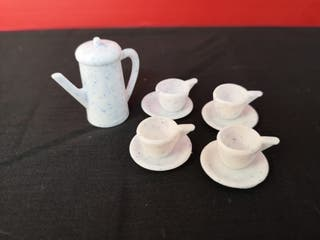 juego de café té tetera tazas muñeca Barbie Mattel