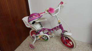 Bicicleta princesas Disney con casco y protectores