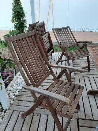 Mesa y seis sillas madera teka