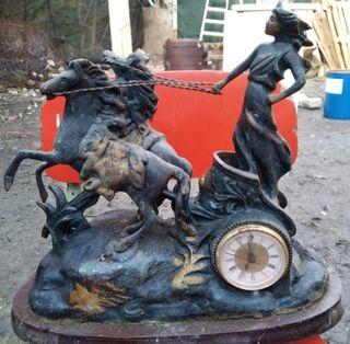 reloj antiguo caballos de bronce