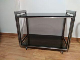 Mesa cristal carro camarera