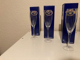 3 copas de cristal de bohemia Champagne