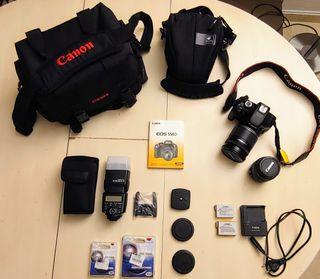 Reflex canon + objetivos + flash + accesorios