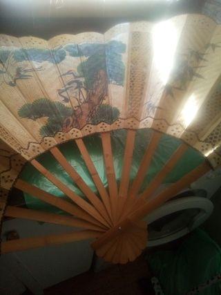 abanico vintage gigante chino pintado