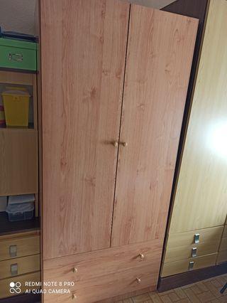 armario 2 puertas con cajones y zapatero