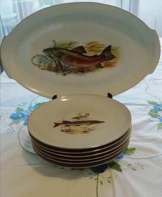 vajilla para pescado LIMOGES vintage