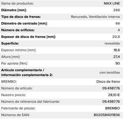 Discos de freno 266 PSA NUEVOS