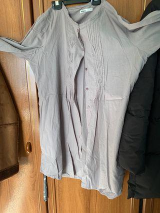 Camisa-vestido abotonada color lila