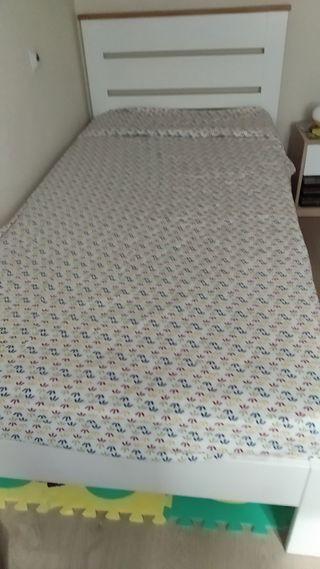 cama niño blanca 90x 190 con colchon