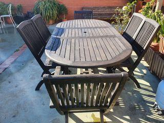 Mesa y sillas de madera teca, Familiar.200x90cm