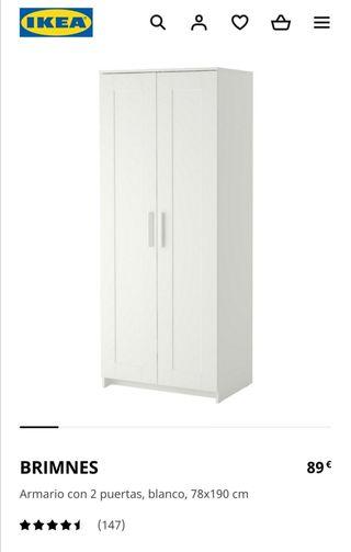 Armario Ikea BRIMNES blanco de 2 puertas