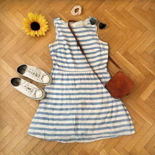 Vestido blanco rayas azules veraniego algodón