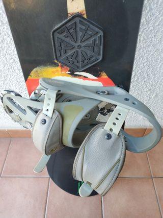 Tabla de Snowboard con fijaciones Burton