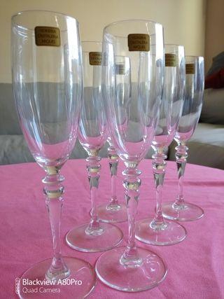 cristaleria arques juego de 6 copas de champagne