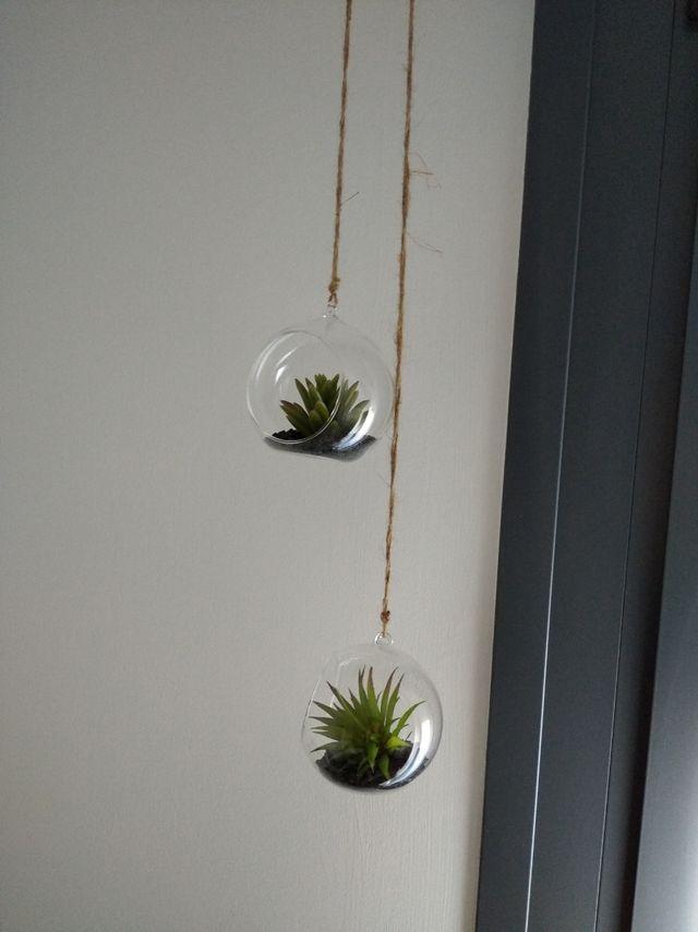 plantas artificiales colgantes bolas cristal