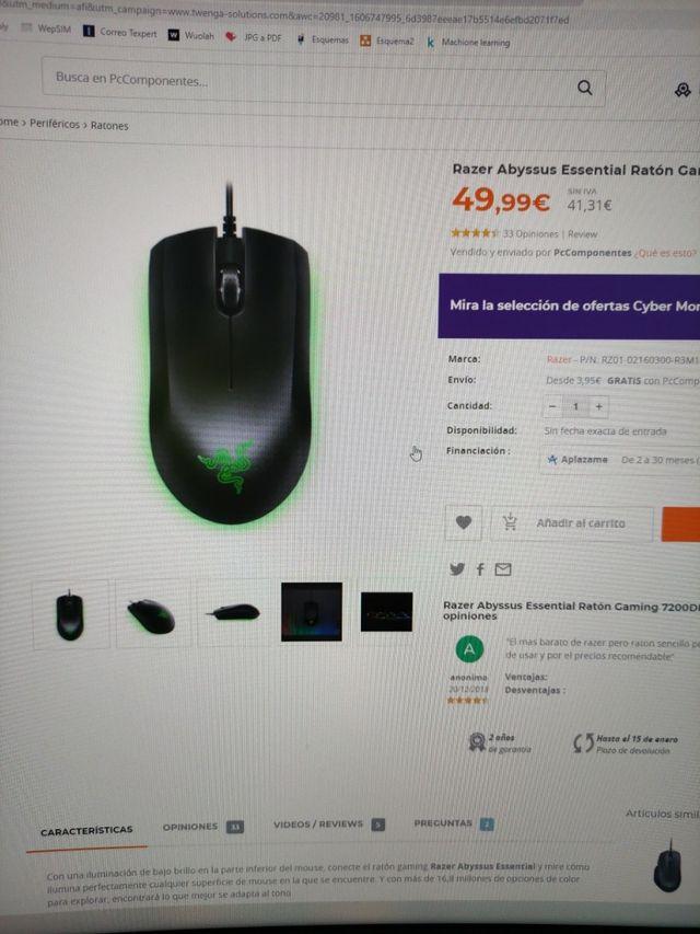 Ratón razer gaming rgb