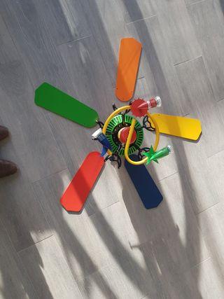 ventilador y lampara techo infantil colores