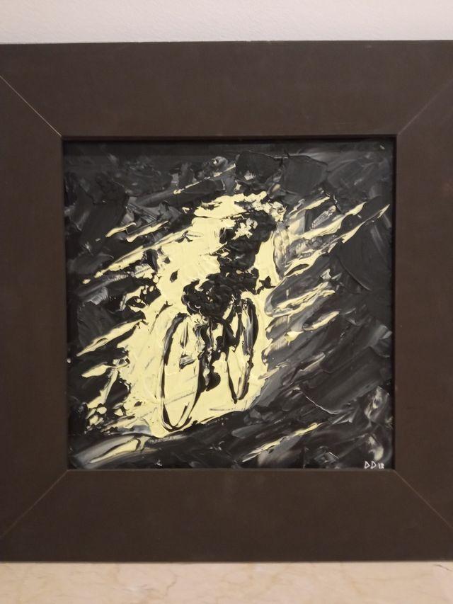Ciclista. Acrílico sobre baldosa.