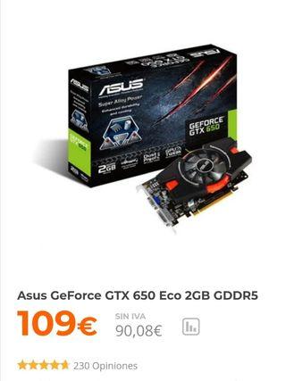 Tarjeta gráfica asus GeForce gtx 650 2 GB
