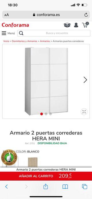 Armario 2 puertas correderas HERA MINI Conforama