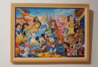 Cuadro puzzle figuras Disney. Marco en madera