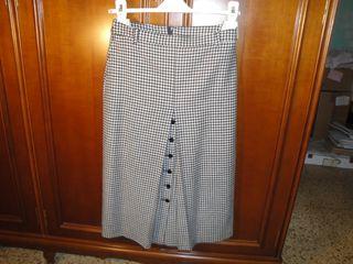 Falda larga, O/Invierno,tejido cuadros pequeños.