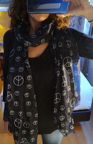 Fular fondo negro dibujo símbolo paz en blanco