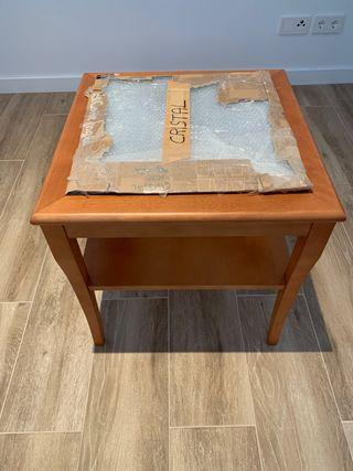 Mesa madera y cristal