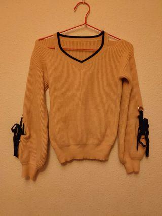 Jersey de lana pico beis.