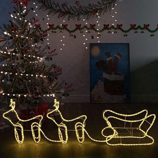 Renos y trineo de Navidad decoración jardín 576LED
