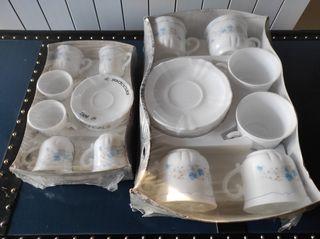 2juegos 6 tazas y platillos Arcopal.Vintage.