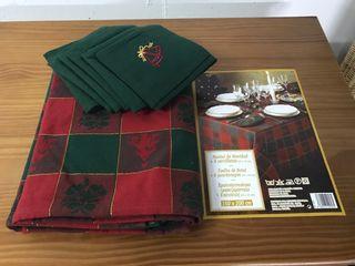 Mantel navidad y 6 servilletas nuevo
