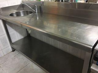 Mesa inox con lavadero