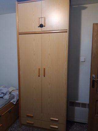 armario de 2 puertas con 2 cajones y altillo