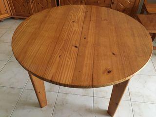 Mesa redonda de pino, de 1,05 diametro