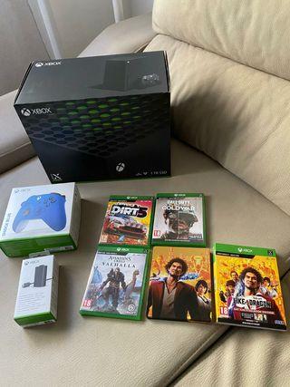 Xbox serie x 1tb+4 juegos+mando blue+baterías