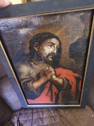 cuadro oleo sobre lienzo religioso antigüedades