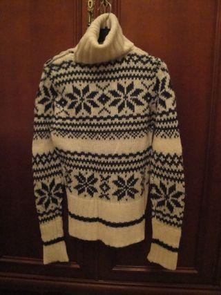 Jersey lana gruesa, O/I, c/cisne, blanco y verde o