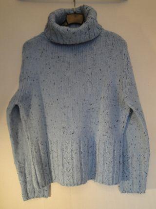 Jersey lana gruesa, O/I, c/cisne alto, azul claro