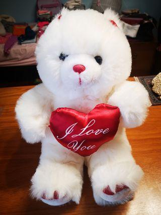 oso de peluche blanco I love you