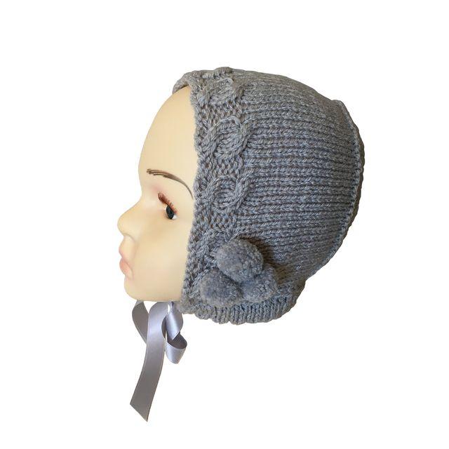 Capota de lana para niña gris 12 a 24 meses