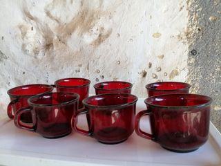 Vasos / Tazas cristal rojo