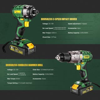 Taladro y atornillador brushless 18V 2A. Nuevos.