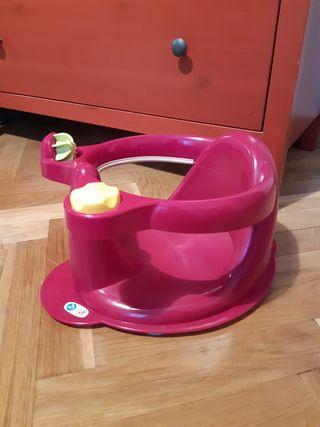 Asiento bañera bebé. Seguridad con ventosas