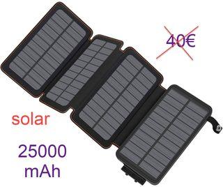 Cargador solar 25000 mAh 2 USB linterna NUEVO